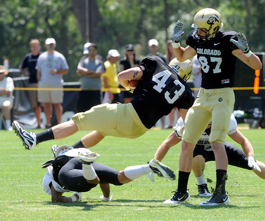 "Matt Bahr,43, gets upended during the University of Colorado Football team scrimmage on Saturday August 13, 2011.<br /> For more photos and video interviews from the scrimmage go to  <a href=""http://www.buffzone.com"">http://www.buffzone.com</a> and dailycamera.com<br /> Photo by Paul Aiken  August 13,  2011."