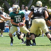 "Brent Burnette, 10, prepares to hand off during the University of Colorado Football team scrimmage on Saturday August 13, 2011.<br /> For more photos and video interviews from the scrimmage go to  <a href=""http://www.buffzone.com"">http://www.buffzone.com</a> and dailycamera.com<br /> Photo by Paul Aiken  August 13,  2011."