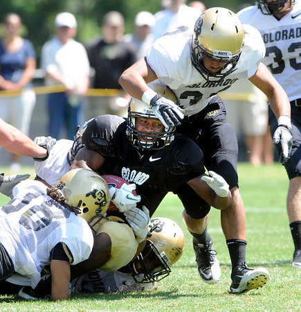 """Josh Ford, 42, gets tackled by K.T. Tu'umalo, 42, River Thompson, 38, and Jermane Clarke during the University of Colorado Football team scrimmage on Saturday August 13, 2011.<br /> For more photos and video interviews from the scrimmage go to  <a href=""""http://www.buffzone.com"""">http://www.buffzone.com</a> and dailycamera.com<br /> Photo by Paul Aiken  August 13,  2011."""