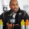 University of Colorado head football coach Jon Embree talks to the media about the reaction of Utah fans after they lost to his CU Buffs. Embree spoke at the last regular season press conference at the Dal Ward Center on the CU Boulder Campus on Tuesday November 29, 2011.<br /> Photo by Paul Aiken