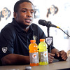 TONY JONES28.JPG University of Colorado Tailback Tony Jones talks about some of the newer players will work on in  upcoming off season under a new coaching system. Jones spoke at the last regular season press conference at the Dal Ward Center on the CU Boulder Campus on Tuesday November 29, 2011.<br /> Photo by Paul Aiken
