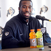 University of Colorado wide receiver Toney Clemons talks about how good it felt to win at Utah.  Clemons spoke at the last regular season press conference at the Dal Ward Center on the CU Boulder Campus on Tuesday November 29, 2011.<br /> Photo by Paul Aiken