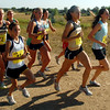 Jenny Barringer, second from the right, heads up the first hill of the CU Time Trial/ Alumni Run on Saturday at the Buffalo Ranch.<br /> Cliff Grassmick / September 5, 2009