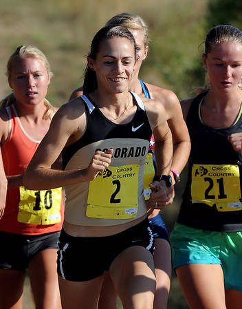 Jenny Barringer (2) joined other University of Colorado runners in the CU Time Trial/Alumni run on Saturday. The women finished as a group, with Jenny officially finishing seventh.<br /> Cliff Grassmick / September 5, 2009