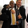 """CU assistant coach, Brian Cabral has some fun with new assistant, Eric Bieniemy.<br /> For more photos of the press conference, go to  <a href=""""http://www.dailycamera.com"""">http://www.dailycamera.com</a>.<br /> Cliff Grassmick / December 6, 2010"""
