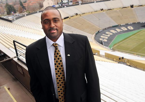 "New University of Colorado football coach, Jon Embree.<br /> For more photos of the press conference, go to  <a href=""http://www.dailycamera.com"">http://www.dailycamera.com</a>.<br /> Cliff Grassmick / December 6, 2010"
