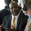 "Eric Bieniemy is interviewed on KOA Radio.<br /> For more photos of the press conference, go to  <a href=""http://www.dailycamera.com"">http://www.dailycamera.com</a>.<br /> Cliff Grassmick / December 6, 2010"