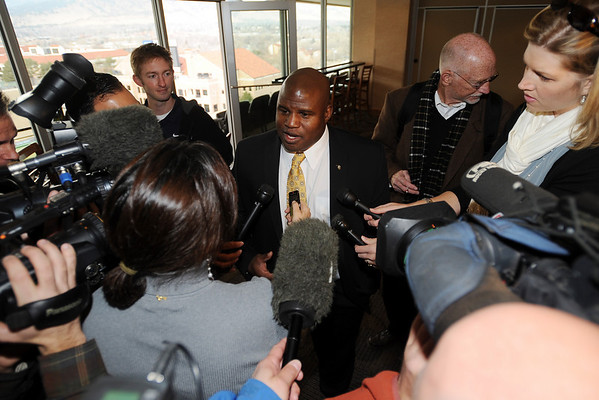 """CU Offensive Coordinator, Eric Bieniemy, talks to the media.<br /> For more photos of the press conference, go to  <a href=""""http://www.dailycamera.com"""">http://www.dailycamera.com</a>.<br /> Cliff Grassmick / December 6, 2010"""