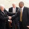 "Jon Embree Presser120.JPG University of Colorado President, Bruce Benson, left, congratulates new football coach, Jon Embree.<br /> For more photos of the press conference, go to  <a href=""http://www.dailycamera.com"">http://www.dailycamera.com</a>.<br /> Cliff Grassmick / December 6, 2010"