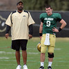 "CU Spring Football April 2011 136.JPG Colorado football coach, Jon Embree, works with Tyler Hansen during the scrimmage on Saturday.<br /> For more photos and a video of Embree, go to  <a href=""http://www.dailycamera.com"">http://www.dailycamera.com</a>.<br /> Cliff Grassmick/ April 2, 2011"