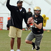 "Colorado Football Spring 2011 126.JPG Head CU football coach, Jon Embree, watches Brent Burnette during day 2 of Spring drills.<br /> For more photos and videos, go to  <a href=""http://www.dailycamera.com"">http://www.dailycamera.com</a>.<br /> Cliff Grassmick/ March 12, 2011"