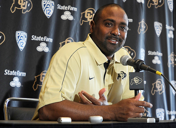 "CU Football Press Conference002.JPG University of Colorado Head Coach Jon Embree speaks during a press conference on Tuesday, Sept. 25, at the Dal Ward Athletic Center on the CU campus in Boulder. For a video of the press conference go to  <a href=""http://www.dailycamera.com"">http://www.dailycamera.com</a><br /> Jeremy Papasso/ Camera"