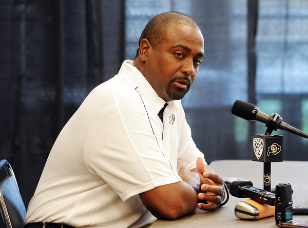 """CU Football 2012 Media Day136.JPG Jon Embree answers questions from the press during CU Football Media Day on Saturday.<br /> For more photos and videos of media day and practice, go to  <a href=""""http://www.dailycamera.com"""">http://www.dailycamera.com</a>.<br /> Cliff Grassmick  / August 11, 2012"""