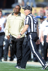 Colorado Oregon Football291.JPG CU coach, Jon Embree, disputes a call in the Oregon game. For more photos of the game, go to www.dailycamera.com. October 22, 2011 / Cliff Grassmick