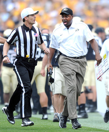 """CU CSU Football 2012 Game385.JPG  CU coach, Jon Embree, during the second half of the Rocky Mountain Showdown at Sports Authority Field in Denver on September 1, 2012.<br /> For more photos of the game, go to  <a href=""""http://www.dailycamera.com"""">http://www.dailycamera.com</a>.<br /> Cliff Grassmick / September 1, 2012"""