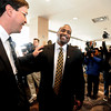 "Jon Embree Presser282.jpg Jon Embree Presser282.JPG Jon Embree, new coach of the Colorado Buffaloes football team, says hello to former  CU player, Ed Reinhardt, left, before his introduction press conference.<br /> For more photos of the press conference, go to  <a href=""http://www.dailycamera.com"">http://www.dailycamera.com</a>.<br /> Cliff Grassmick / December 6, 2010"