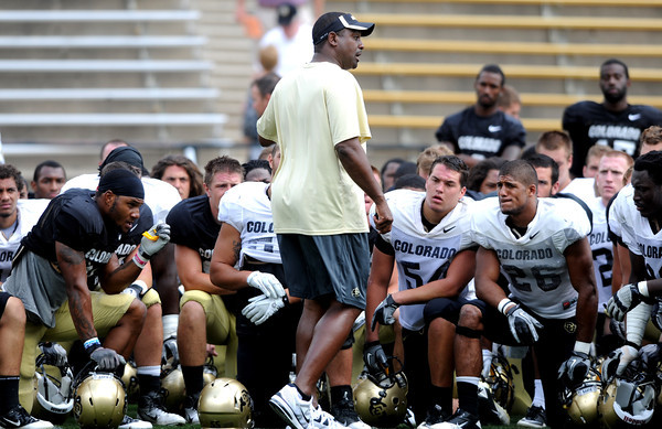 "CU football Aug. 19, 2011 138.JPG University of Colorado football coach, Jon Embree, talks to the team after the Friday scrimmage.<br /> For more photos and videos from Friday, go to  <a href=""http://www.dailycamera.com"">http://www.dailycamera.com</a><br /> Cliff Grassmick / August 19, 2011"
