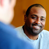 "EMBREESPRING79.JPG University of Colorado Head Football Coach Jon Embree chats with members of the media during his spring roundtable at the Dal Ward Center on the CU Boulder Campus on Monday April 16, 2012.<br /> For a video of the roundtable go to  <a href=""http://www.buffzone.com"">http://www.buffzone.com</a><br /> Photo by Paul Aiken   /  The Camera"