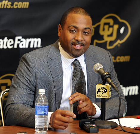 Jon Embree on Recruiting50.JPG University of Colorado football coach, Jon Embree, talks about his first recruiting class.<br /> Cliff Grassmick / February 2, 2011