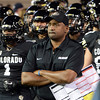"""CU ASU Football46.JPG Coach Jon Embree waits with the Buffs to run behind Ralphie.<br /> For more photos of the game, go to  <a href=""""http://www.dailycamera.com"""">http://www.dailycamera.com</a><br /> Cliff Grassmick / October 11, 2012"""
