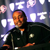 "EMBREE295.JPG University of Colorado Head Football Coach Jon Embree speaks to the media and Buff Football supporter Tuesday September 18 2012 at the Millennium Harvest House Boulder during the weekly football press conference.<br /> For a video of Embree's talk go to  <a href=""http://www.buffzone.com"">http://www.buffzone.com</a><br /> Photo by Paul Aiken"