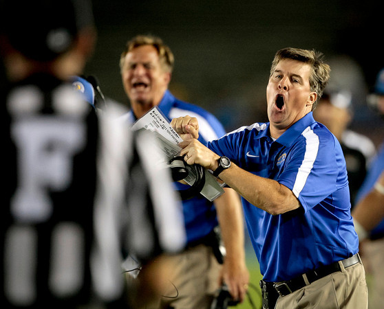 San Jose State head coach Mike MacIntyre yells at a referee during first half of an NCAA college football game against San Jose State at the Rose Bowl, Saturday, Sept. 10, 2011, in Pasadena, Calif. (AP Photo/Bret Hartman)