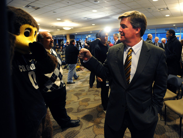 Mike MacIntyre is officially named the next football coach at the University of Colorado. Chip the mascot gets in on the action.<br /> Cliff Grassmick / December10, 2012