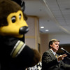 "University of Colorado mascot Chip listens as the new head football coach Mike MacIntyre speaks at a press conference in the club level of Folsom Field on Monday, Dec. 10, on the CU campus in Boulder. For more photos and video of the press conference go to  <a href=""http://www.dailycamera.com"">http://www.dailycamera.com</a><br /> Jeremy Papasso/ Camera"