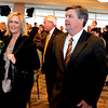 Mike MacIntyre enters the press conference with his wife Trisha.<br /> Mike MacIntyre is officially named the next football coach at the University of Colorado.<br /> Cliff Grassmick / December10, 2012