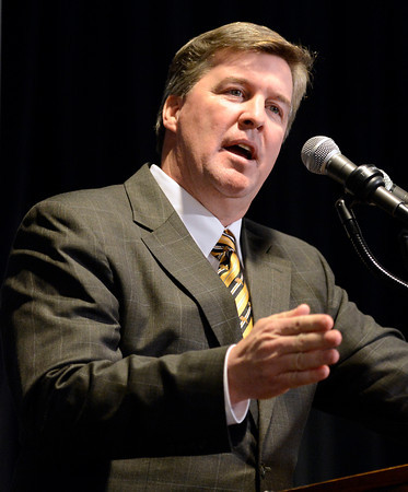 """University of Colorado head coach Mike MacIntyre speaks at a press conference in the club level of Folsom Field on Monday, Dec. 10, on the CU campus in Boulder. For more photos and video of the press conference go to  <a href=""""http://www.dailycamera.com"""">http://www.dailycamera.com</a><br /> Jeremy Papasso/ Camera"""
