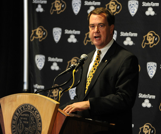 CU AD, Mike Bohn, introduces Mike MacIntyre.<br /> Mike MacIntyre is officially named the next football coach at the University of Colorado.<br /> Cliff Grassmick / December10, 2012