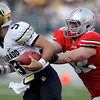 Ohio State's Storm Klein sacks Colorado's Tyler Hansen during the fourth quarter of an NCAA college football game Saturday, Sept. 24, 2011, in Columbus, Ohio. Ohio State defeated Colorado 37-17. (AP Photo/Jay LaPrete)