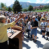 "Associate Athletic Director, Ceal Barry, addresses the crowd at the opening.<br /> The University of Colorado Athletic Department held the grand opening of the new practice facilities for volleyball and basketball on Saturday.<br /> For more photos of the new facility, go to  <a href=""http://www.dailycamera.com"">http://www.dailycamera.com</a><br /> Cliff Grassmick / August 20, 2011"