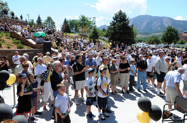 "Hundreds of fans attended the grand opening, which began outside the new facility.<br /> The University of Colorado Athletic Department held the grand opening of the new practice facilities for volleyball and basketball on Saturday.<br /> For more photos of the new facility, go to  <a href=""http://www.dailycamera.com"">http://www.dailycamera.com</a><br /> Cliff Grassmick / August 20, 2011"