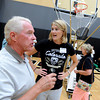 "Ian Ferguson has a few questions for Women's coach, Linda Lappe, on Saturday.<br /> The University of Colorado Athletic Department held the grand opening of the new practice facilities for volleyball and basketball on Saturday.<br /> For more photos of the new facility, go to  <a href=""http://www.dailycamera.com"">http://www.dailycamera.com</a><br /> Cliff Grassmick / August 20, 2011"