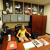"Claire Boyle, 11, test drives her dad's office chair during the grand opening.<br /> The University of Colorado Athletic Department held the grand opening of the new practice facilities for volleyball and basketball on Saturday.<br /> For more photos of the new facility, go to  <a href=""http://www.dailycamera.com"">http://www.dailycamera.com</a><br /> Cliff Grassmick / August 20, 2011"