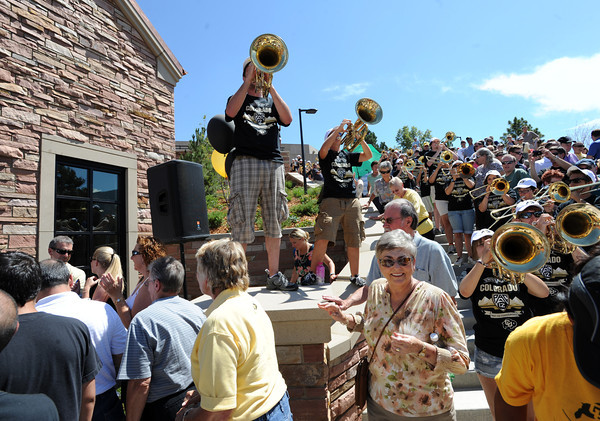"The CU band helps the crowd along.<br /> The University of Colorado Athletic Department held the grand opening of the new practice facilities for volleyball and basketball on Saturday.<br /> For more photos of the new facility, go to  <a href=""http://www.dailycamera.com"">http://www.dailycamera.com</a><br /> Cliff Grassmick / August 20, 2011"