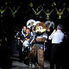 "University of Colorado mascot Chip dances while the CU Marching Band and cheerleaders perform during the Parade Of Buffs on Thursday, Sept. 27, at the First Bank Center in Broomfield. For more photos of the event go to  <a href=""http://www.dailycamera.com"">http://www.dailycamera.com</a><br /> Jeremy Papasso/ Camera"