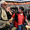 "Former University of Colorado football player Bill Harris, left, shakes hands with Agustin Figallo during the Parade Of Buffs on Thursday, Sept. 27, at the First Bank Center in Broomfield. For more photos of the event go to  <a href=""http://www.dailycamera.com"">http://www.dailycamera.com</a><br /> Jeremy Papasso/ Camera"