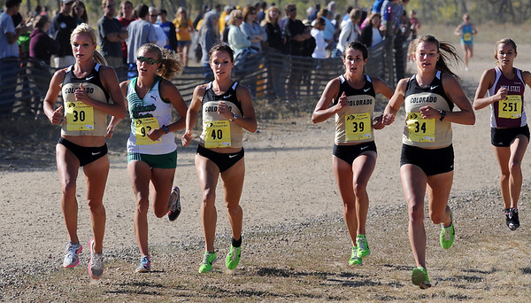 "Emma Coburn (30) and Laura Tremblay (40), both of CU, lead the pack in the 2010 Rocky Mountain Shootout. Emma was second and Laura was the winner.<br /> For more photos from the race, go to  <a href=""http://www.dailycamera.com"">http://www.dailycamera.com</a>.<br />  Cliff Grassmick / October 2, 2010"