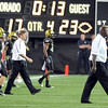 Dan Hawkins and the Buffs go to congratulate CSU on the win.<br /> Cliff Grassmick / September 6, 2009