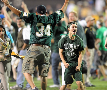 CSU fans rushed Folsom Field after the upset win over Colorado. Cliff Grassmick / September 6, 2009