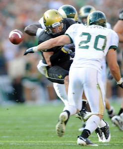 This ball intended for Scotty McKnight is intercepted by CSU. Cliff Grassmick / September 6, 2009