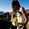University of Colorado senior Jenny Barringer congratulates and hugs freshman teammate Allie McLaughlin, who cam in second, after the Rocky Mountain Shootout Cross Country race at the University of Colorado's south campus, Saturday, Oct. 3, 2009. <br /> KASIA BROUSSALIAN / THE CAMERA