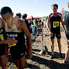 CU senior Kenyon Neuman (left) congratulates junior teammate Richard Medina after finishing at the Rocky Mountain Shootout Cross Country race at the University of Colorado's south campus, Saturday, Oct. 3, 2009. <br /> KASIA BROUSSALIAN / THE CAMERA