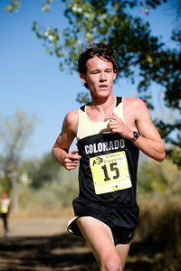 CU junior Matt Tebo passes his first loop of the course in second, first for CU, at the Rocky Mountain Shootout Cross Country race at the University of Colorado's south campus, Saturday, Oct. 3, 2009. Tebo placed second overall after teammate Kenyon Neuman. KASIA BROUSSALIAN / THE CAMERA