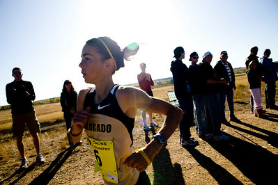 CU freshman Allie McLaughlin trails Barringer in second throughout the course at the Rocky Mountain Shootout Cross Country race at the University of Colorado's south campus, Saturday, Oct. 3, 2009.  KASIA BROUSSALIAN / THE CAMERA