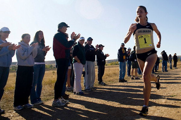 University of Colorado senior Jenny Barringer leads the pack at the Rocky Mountain Shootout Cross Country race at the University of Colorado's south campus, Saturday, Oct. 3, 2009. Barringer set a new record for the course.<br /> KASIA BROUSSALIAN / THE CAMERA