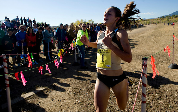 University of Colorado senior Jenny Barringer finishes well before the others and breaks the course record at the Rocky Mountain Shootout Cross Country race at the University of Colorado's south campus, Saturday, Oct. 3, 2009. <br /> KASIA BROUSSALIAN / THE CAMERA