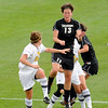 "University of Colorado's Kate Russell heads the ball during a soccer game against Colorado College on Friday, Aug. 19, at the University of Denver. CU won the game 5-0. For more photos of the game go to  <a href=""http://www.dailycamera.com"">http://www.dailycamera.com</a><br />  Jeremy Papasso/ Camera"